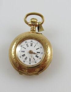 Antike 585er Gold Damentaschenuhr, Handarbeit um 1890 (E3201)