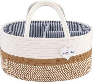 GREATALE Baby Diaper Caddy Organizer - Portable Rope Nursery Storage Bin for Cha