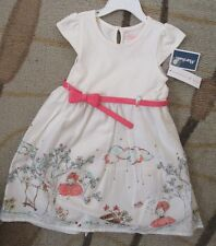 NEW MAGGIE & ZOE Toddler Girls Spring Ivory White Coral Belted Dress 3T