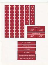 SEEBURG 14 JUKEBOX M100 A B C G J R TITLEBOARD CLASSIFICATION COIN PLASTIC SET