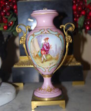 OLD FRENCH PINK SEVRES BRONZE MOUNTED ROMANTIC SCENE BY BPIN PORCELAIN URN VASE