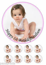 "PERSONALISED PHOTO 7.5"" Round icing sheet Cake Topper any message"