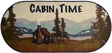 "20X44 ""Cabin Time"" Mountains Forest Brown Green Cabin Lodge Oval Kitchen Rug Mat"