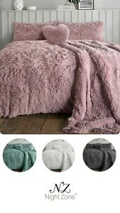 Teddy Alaska Fur Fleece Duvet Cover Set Warm Cuddles Long Fur Teddy Bear Bedding