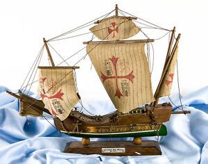 Veliero SANTA MARIA 1492 CARAVELLA Modellino Barca Nave in Legno VINTAGE Boat