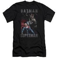 NEW Batman Vs Superman DAWN OF JUSTICE split Adult Men's T-Shirt Black DC Comics