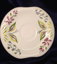 "RED WING POTTERY CAPRICE SAUCER 6 5/8"" RED & GREY FLOWERS GREEN & RED LEAVES"
