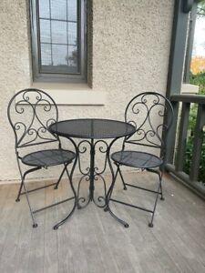 Patio Setting Mia 3 Piece Steel Bistro Balcony Pool Deck Metal Black Garden