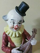 "Porcelain Clown With Lute Guitar Marked U C G C, 6.25"" Tall"