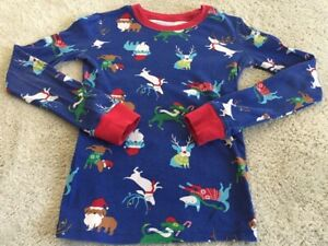 Children's Place Boys Blue Red Reindeer Santa Dogs Long Sleeve Pajama Shirt 8