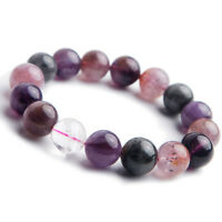Genuine Natural Colorful Auralite 23 Cacoxenite Round Beads Bracelet 13mm AAA