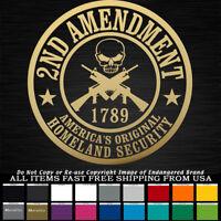 2nd Amendment Round Badge Skull 1789 NRA truck car jeep Decal Sticker