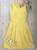 Max Mara UK 10 US 8 It 42 yellow silk blend embroidered summer tea party dress