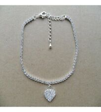 Brilliant Full Round Cut Cubic Zirconia Heart Pendant Beautiful Women's Anklets