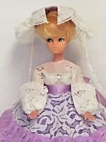 Vintage Mod Glam Barbie Clone Doll W/ Handmade Southern Bell Lace Dress