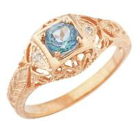 14Kt Rose Gold Plated Natural Blue Mystic Topaz & Diamond Round Ring