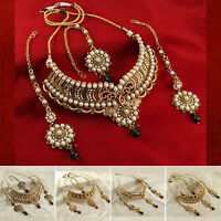 Indian Goldtone Necklace Earring Tikka Set Bollywood Jewelry BNG3110A-PAR