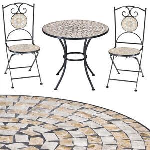 Balkonmöbel Gartenmöbel Set Mosaik 2x Stühle 1x Tisch Sitzgruppe Garten Balkon