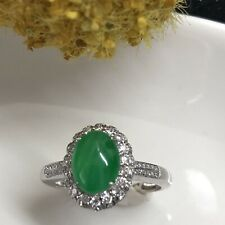 NEW Myanmar Grade A Icy Yang Green Jadeite Ring 18K White Gold