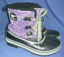Women's Sorel Boots Duck Boots Purple Gray Black Lined Size 5