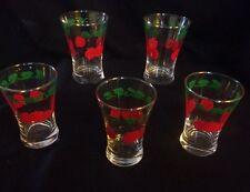 Set 5 Vintage GlassTomato Juice Glasses Red & Green Vine Leaf Design