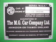 Targhetta identificativa dati MG serie M.G.A.