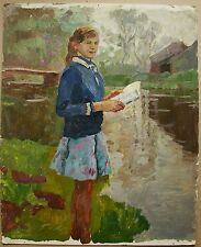 Russian Ukrainian Soviet Oil Painting girl Children