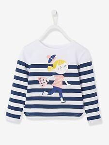 Bluse Top T-Shirt für Mädchen Kinder Langarm Baumwoll-Stretch - weiß/marine
