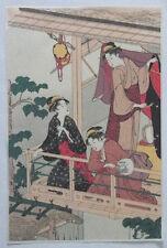 3 BEAUTIES ON BALCONY By TORII KIYONAGA: A REAL JAPANESE UKIYO-E WOODBLOCK PRINT