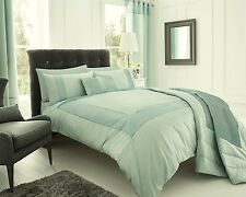 SUPERKING SIZE PEARL DUCK EGG CRINKLE PANEL TRIM  DUVET COVER SET