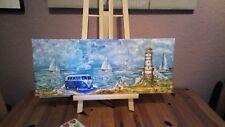 VW Bus  Bulli T1 T2 T3 T4 T5 Bild Leinwand Leuchtturm Maritim Strand
