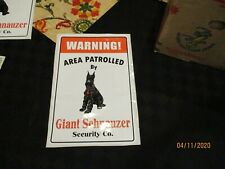 Warning Area Patrolled By Giant Schnauzer Security Co Sticker Decal New unused