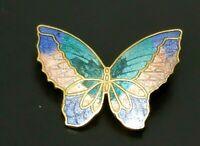 Vintage Butterfly Enamel cloisonne Gold tone Brooch