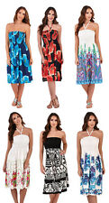 Ladies Floral Casual Summer Dress 2 in 1 Strapless Sun Dress Bandeau Sundress
