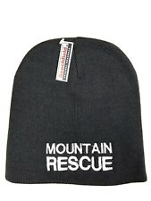 MOUNTAIN RESCUE Black Beanie Hat one size Beechfield Groups Embroider