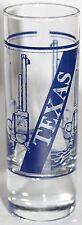 "Shooter Glass Texas Guns Weapons Blue on Clear - 4"" Shot Glass Barware"