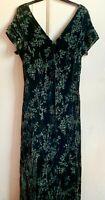 Gorgeous *MONSOON* Green Silk Devore Velvet Bias Cut Lined Long Evening Dress 18