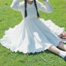 Women Girl Lolita Fairy Dress Peter Pan Collar Ruffles Swing Midi Princess