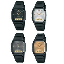 Casio AW-48HE Series Black Silver or Gold Dual Time Unisex Digital Analog Watch