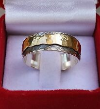 Silver And Gold Spinner Ring ,Handmade Wedding Band Oxidized Bridal Spinner Ring