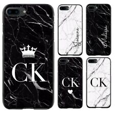 Personalised Marble  Initial Phone Case Cover For Samsung Galaxy Apple iPhone 01