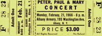 PETER, PAUL & MARY 1966 TOUR UNUSED ALBANY, N.Y. ARMORY CONCERT TICKET EX 2 NMT