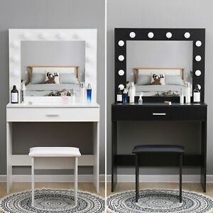 Modern Dressing Table Makeup Desk w/LED Lighted Mirror&Drawer,Stool Bedroom