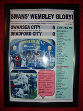 Swansea City 5 Bradford City 0 - 2013 Capital One Cup final - framed print