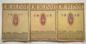 3x Historische Zeitschriften Die Kunst - 1911/18 für freie und angewandte Kunst