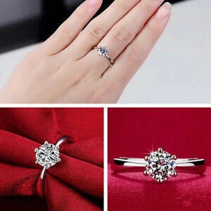 Womens Round Rings Silver Plated Ring Band Cubic Zirconia Fashion Engagement New