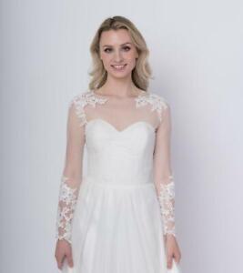 White Ivory Lace Long Sleeves Wedding Bolero Wrap Appliques Bridal Jacket Cape