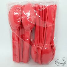 50x RED Plastic Disposable spoons Tea,Dessert,Ice cream  Kitchen Party outdoor.