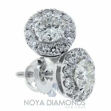 1.40 CARAT G SI1 DIAMOND HALO STUD EARRINGS MICRO PAVE SET IN 18K WHITE GOLD