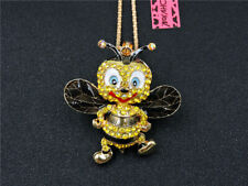Betsey Johnson Rhinestone Bee Yellow Crystal Pendant Chain Necklace Gift